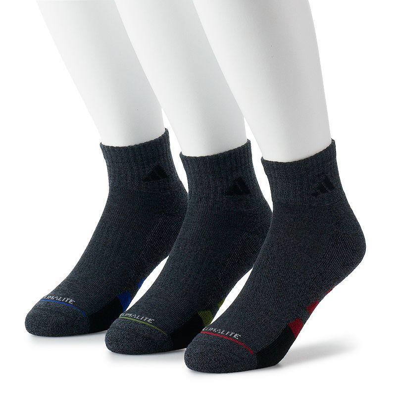 Men's adidas Cushioned II Climalite 3-pack Quarter Socks, Size: 6-12, Black