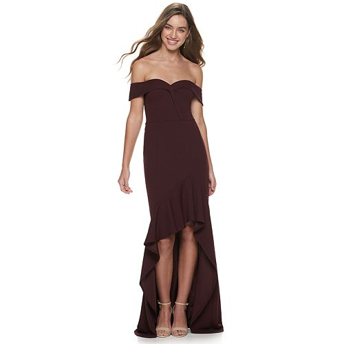 Juniors' Speechless Off the Shoulder Fitted High-Low Dress