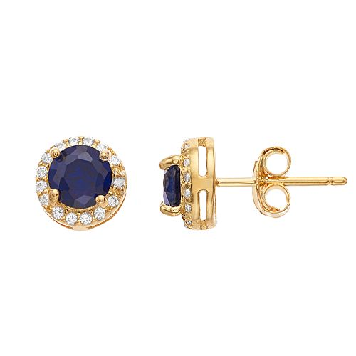 RADIANT GEM 18k Gold Over Silver Gemstone & Diamond Accent Halo Stud Earrings