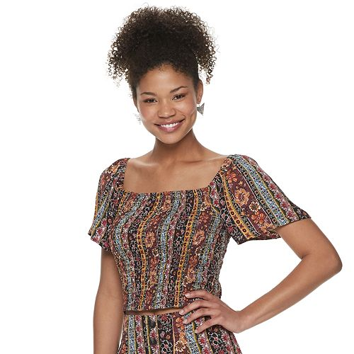 Juniors' Live To Be Spoiled Allover Smocked Top