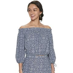 Juniors' Live To Be Spoiled Smocked Off-the-Shoulder Top