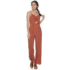 Juniors' Almost Famous Keyhole Cutout Jumpsuit