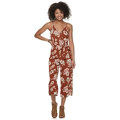 Juniors' Almost Famous Surplus Leg Slit Jumpsuit
