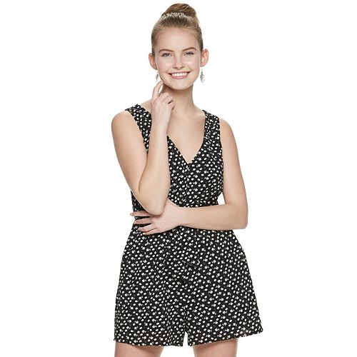Juniors' Lily Rose Ditsy Print Knotted Front Romper