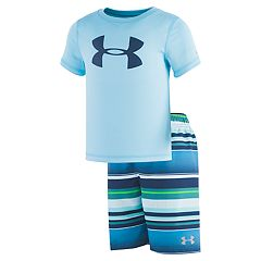 Boys 4-7 Under Armour Logo Rash Guard Top & Striped Swim Trunks Set