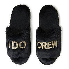 Women's Dearfoams Bridal 'I Do Crew' Faux-Fur Slide Slippers