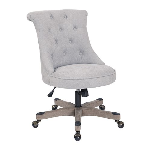 OSP Home Furnishings Hannah Tufted Office Chair with Grey wood Base