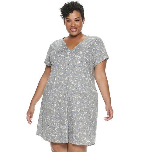 Plus Size Croft & Barrow® Henley Sleepshirt