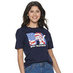 Juniors' MTV American Flag Short Sleeve Crew Neck Americana Tee