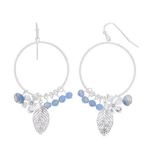 LC Lauren Conrad Leaf Hoop Drop Earrings