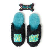 "Women's Dearfoams ""Dog Hair Don't Care"" Slippers with Bone Dog Toy"