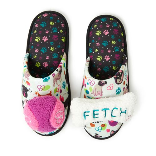 Women's Dearfoams Dog Themed Slippers with Detachable Dog Toys