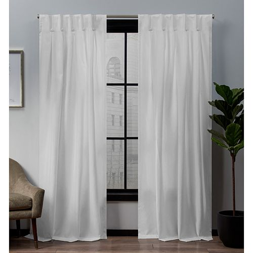 Exclusive Home 2-pack Loha Linen Button Top Window Curtains