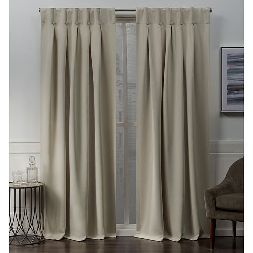 Exclusive Home 2-pack Woven Blackout Button Top Window Curtains