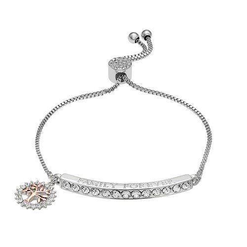 "Brilliance ""Family Forever"" Bar Bracelet with Swarovski Crystals"