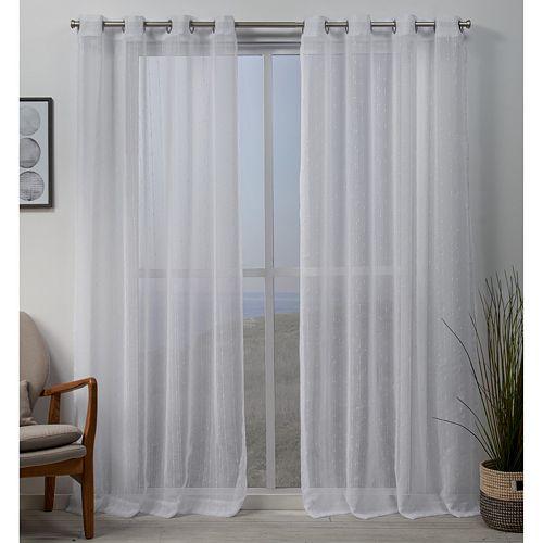 Exclusive Home Whitaker Vertical Teardrop Slub Embellished Window Curtains