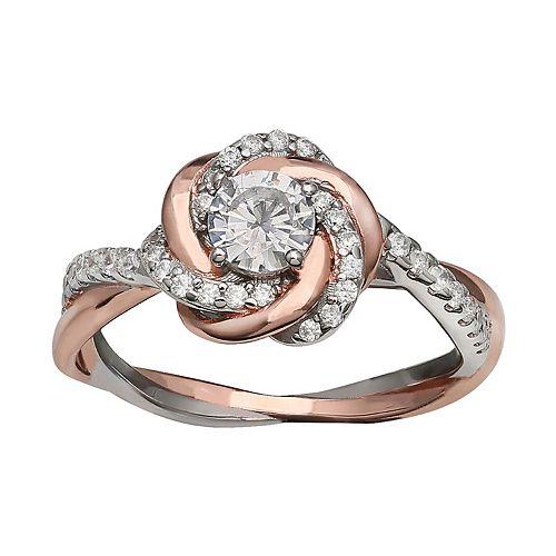 PRIMROSE Two-Tone Loveknot Cubic Zirconia Ring