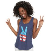 Juniors' Family Fun American Flag Peace Sign Graphic Tank
