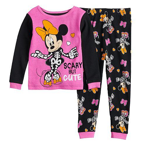 Disney's Minnie Mouse Toddler Girl Glow-in-the-Dark Halloween Top & Bottoms Pajama Set