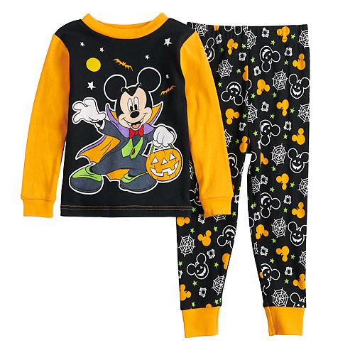 Disney Mickey Mouse Halloween T-Shirt for Boys Glow-in-The-Dark Multi