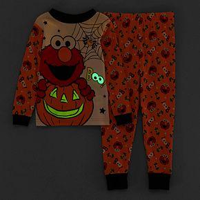 Toddler Boy Sesame Street Elmo Glow-in-the-Dark Halloween Top & Bottoms Pajama Set