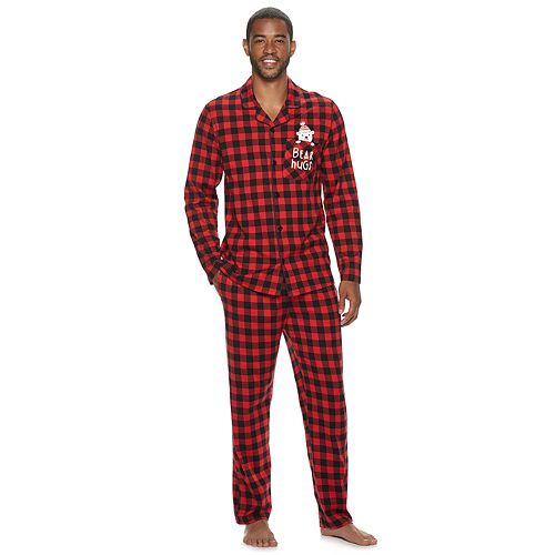 Men's Jammies For Your Families Cool Bear Top & Bottoms Notch Pajama Set by Cuddl Duds