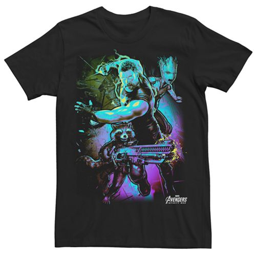 Men's Marvel Avengers Infinity War Guardians of the Galaxy Troubled Three Graphic Tee