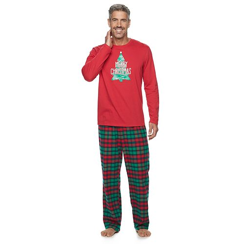 Men's Jammies For Your Families Red Plaid Merry Christmas Family Long Sleeve Tee & Pants Pajama Set