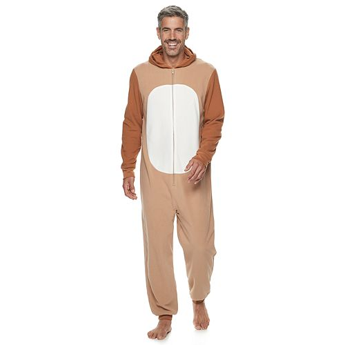 Men's Jammies For Your Families Merry Christmas Family Reindeer Microfleece One-Piece Pajamas