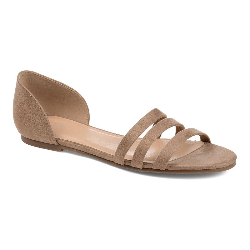Step out in style with these women\\\'s Journee Collection Gildie flast. SHOE FEATURES Micro Suede Ankle Cuff Design, Triple Toe Strap Detail SHOE CONSTRUCTION Faux suede upperPolyurethane lining Rubber outsole SHOE DETAILS Open toe Slip-on closure Polyurethane footbed 0.5-in. platform heightSpot clean Size: 12. Color: Beig/Khaki. Gender: female. Age Group: adult.