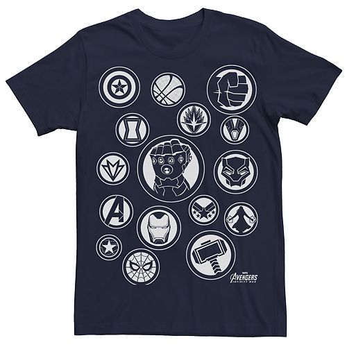 Men's Marvel Avengers Infinity War Cast Symbols Graphic Tee