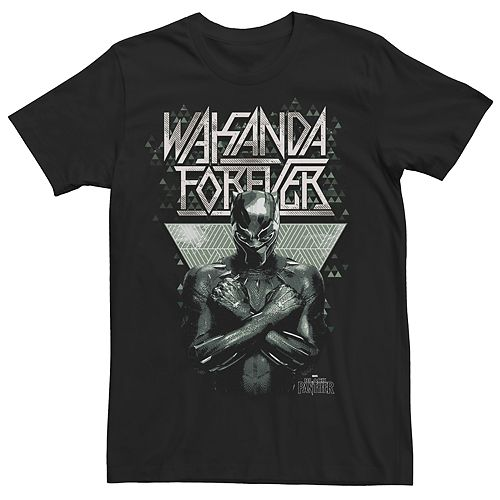 Men's Marvel Black Panther Wakanda Forever Pattern Graphic Tee