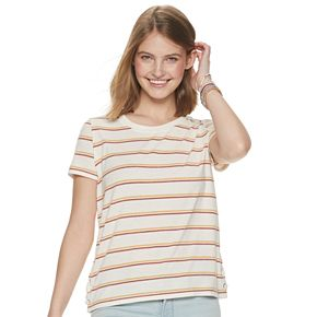 Juniors' Pink Republic Lace-Up Side Tee