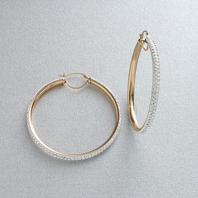 Gold 'N' Ice 14k Gold Crystal Hoop Earrings - Made with Swarovski Elements
