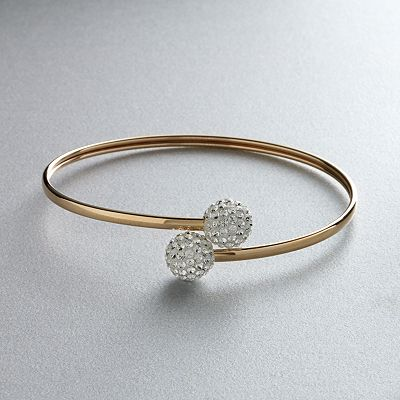 Gold 'N' Ice 14k Gold Crystal Bypass Bangle Bracelet - Made with Swarovski Elements