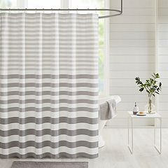 Madison Park Donna Stripe Blended Yarn Dyed Woven Shower Curtain Navy Gray Taupe