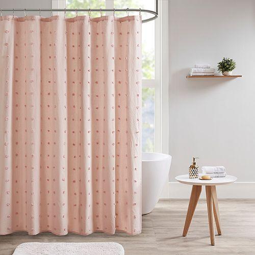 Madison Park Maize Jacquard Pom Pom Shower Curtain
