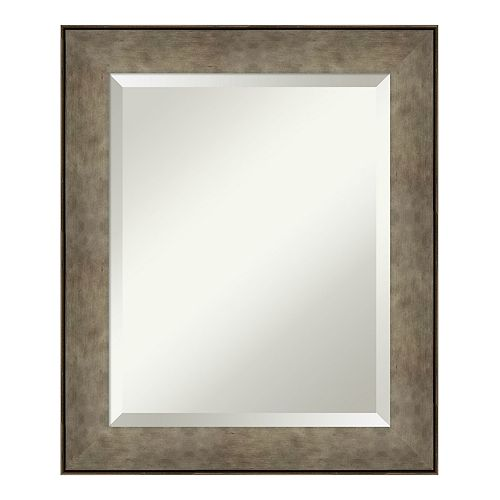 Amanti Art Pounded Metal Wood Medium Wall Mirror