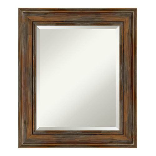 Amanti Art Alexandria Brown Wood Medium Wall Mirror