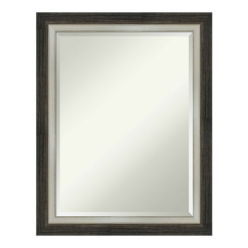 Amanti Art Brushed Metallic Wood Wall Mirror