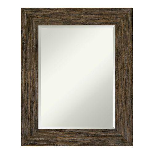 Amanti Art Fencepost Brown Wood Wall Mirror