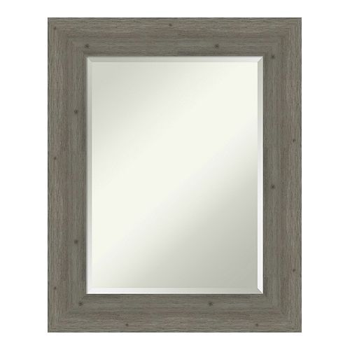 Amanti Art Fencepost Grey Wood Square Wall Mirror