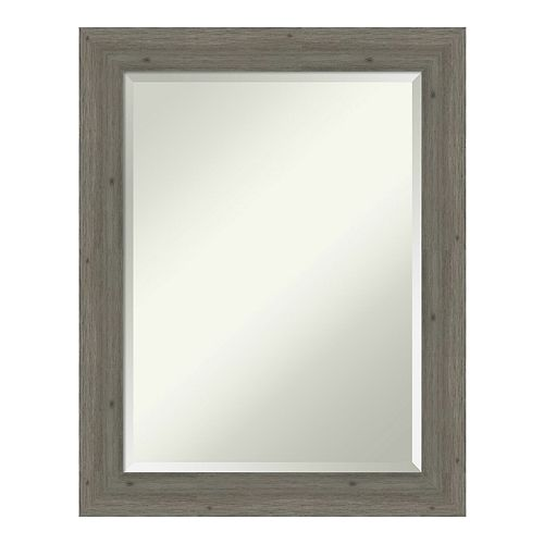 Amanti Art Fencepost Grey Narrow Wood Wall Mirror