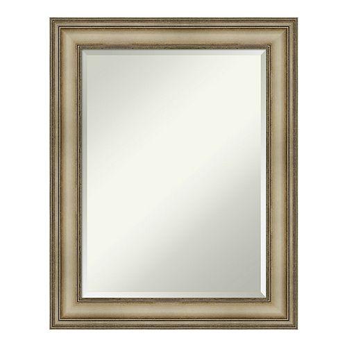 Amanti Art Mezzanine Antique Silver Wood Square Wall Mirror