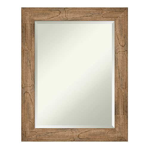 Amanti Art Owl Brown Wood Square Wall Mirror