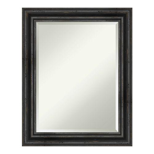 Amanti Art Rustic Pine Black Wood Wall Mirror
