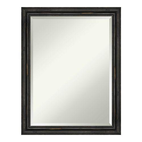 Amanti Art Rustic Pine Narrow Black Wood Wall Mirror