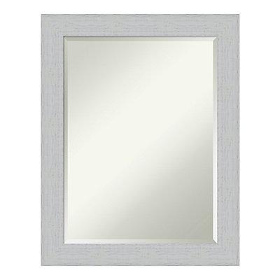 Amanti Art Shiplap White Wood Medium Wall Mirror