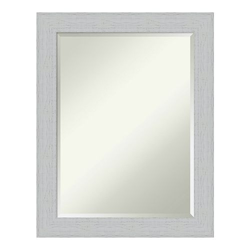 Amanti Art Shiplap White Wood Medium Wall Mirror
