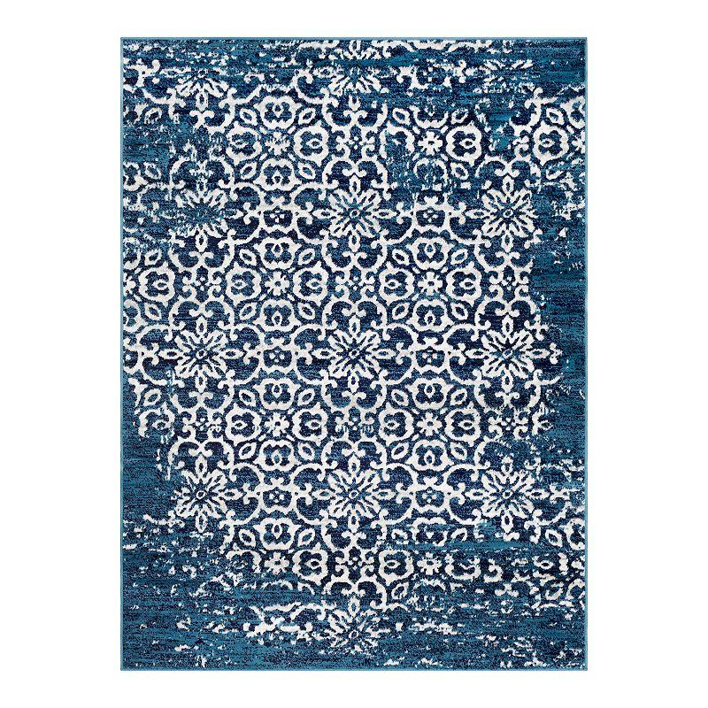 Decor 140 Marseille Distressed Trellis Rug, Blue, 4X5.5 Ft